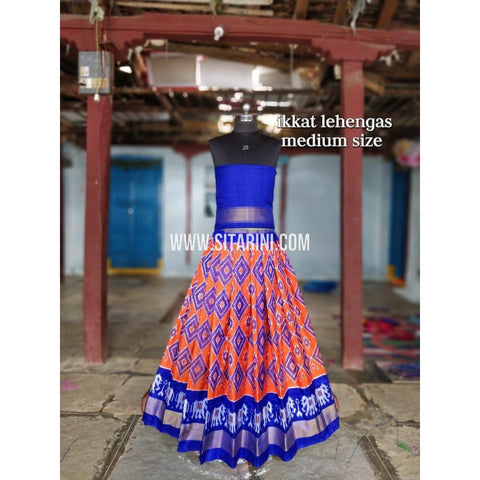 Ikkat Lehenga For Kids-Pattu-Orange and Blue-3 to 8 Years-Sitarini-SITMIL212
