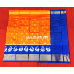 Ikkat Lehenga For Kids-Pattu-Orange and Blue-3 to 8 Years-Sitarini-SITMIL271