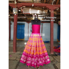 Ikkat Lehenga For Kids-Pattu-Orange and Pink-3 to 8 Years-Sitarini-SITMIL205