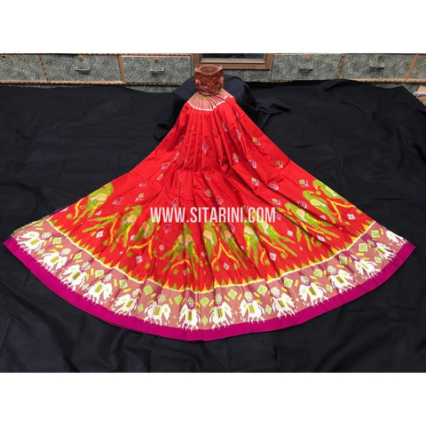 Ikkat Lehenga For Kids-Pattu-Orange and Pink-3 to 8 Years-Sitarini-SITMIL237