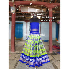 Ikkat Lehenga For Kids-Pattu-Parrotgreen and Blue-3 to 8 Years-Sitarini-SITMIL213