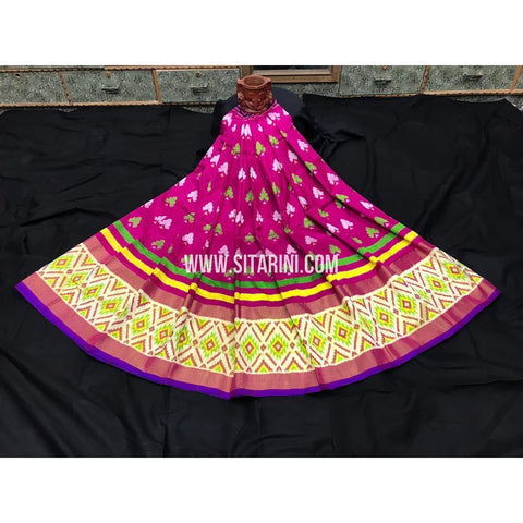 Ikkat Lehenga For Kids-Pattu-Pink-3 to 8 Years-Sitarini-SITMIL231