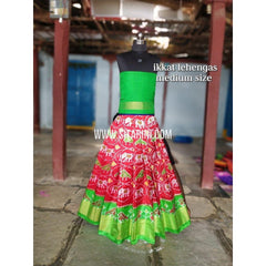 Ikkat Lehenga For Kids-Pattu-Red and Green-3 to 8 Years-Sitarini-SITMIL226