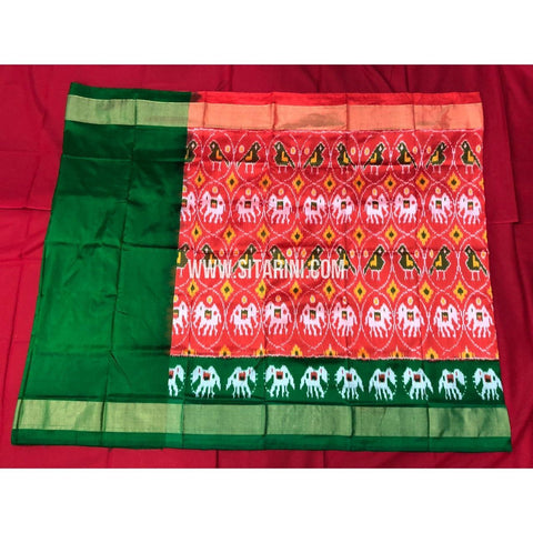Ikkat Lehenga For Kids-Pattu-Red and Green-3 to 8 Years-Sitarini-SITMIL273