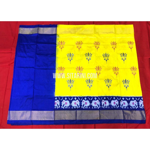 Ikkat Lehenga For Kids-Pattu-Yellow and Blue-3 to 8 Years-Sitarini-SITMIL274