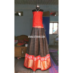 Ikkat Lehenga-Full Body Checks-Orange and Black-Sitarini-PRHIPL141