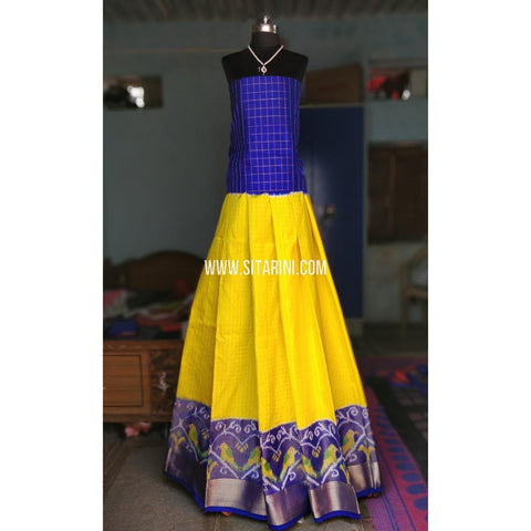 Ikkat Lehenga-Full Body Checks-Royal Blue and Lemon Yellow-Sitarini-PRHIPL138