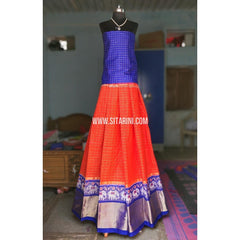Ikkat Lehenga-Full Body Checks-Royal Blue and Orange-Sitarini-PRHIPL137