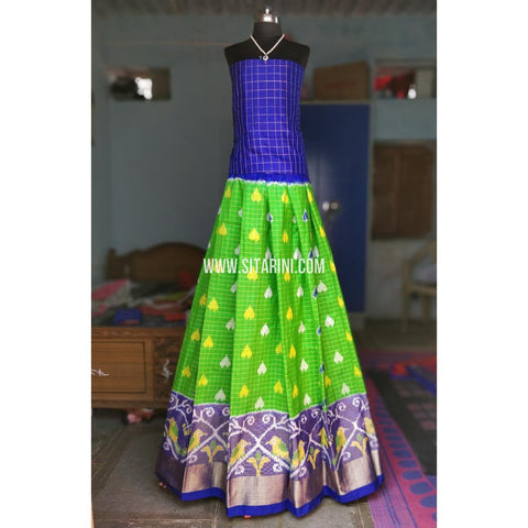 Ikkat Lehenga-Full Body Checks-Royal Blue and Parrot Green-Sitarini-PRHIPL139