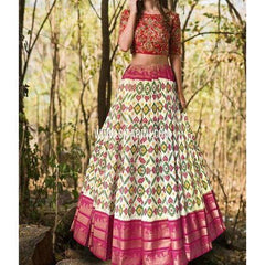 Ikkat Lehenga-Kanchi Border-Cream and Magenta-PSHIPL237