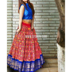 Ikkat Lehenga-Kanchi Border-Royal Blue and Maroon-PSHIPL240