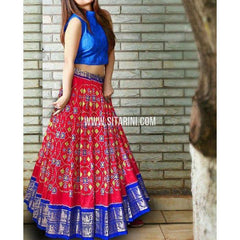 Ikkat Lehenga-Kanchi Border-Royal Blue and Maroon-PSHIPL244