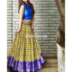 Ikkat Lehenga-Kanchi Border-Royal Blue and Yellow-PSHIPL239