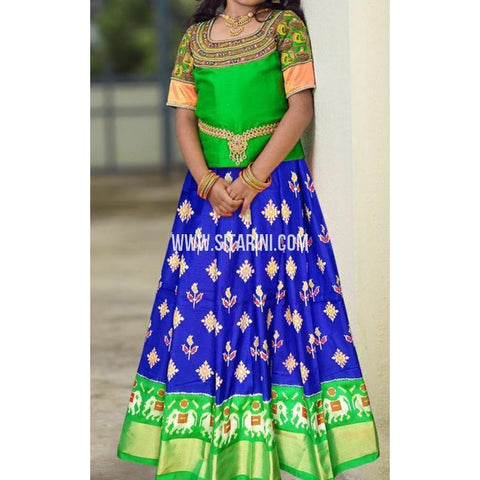 Ikkat Lehenga-Pattu-Blue and Green-Sitarini-SITMIL290