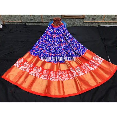 Ikkat lehenga-Pattu-Blue and Orange-Sitarini-SITEIL358