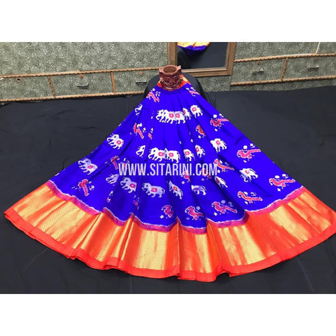 Ikkat lehenga-Pattu-Blue and Orange-Sitarini-SITEIL396