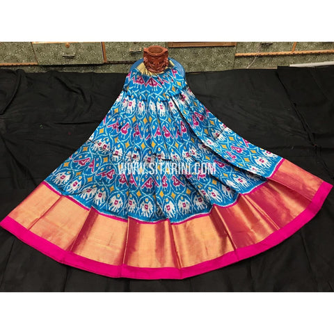 Ikkat lehenga-Pattu-Blue and Pink-Sitarini-SITEIL388