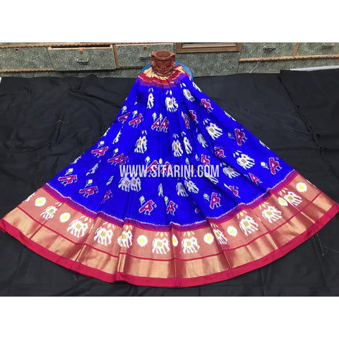 Ikkat lehenga-Pattu-Blue and Pink-Sitarini-SITEIL389