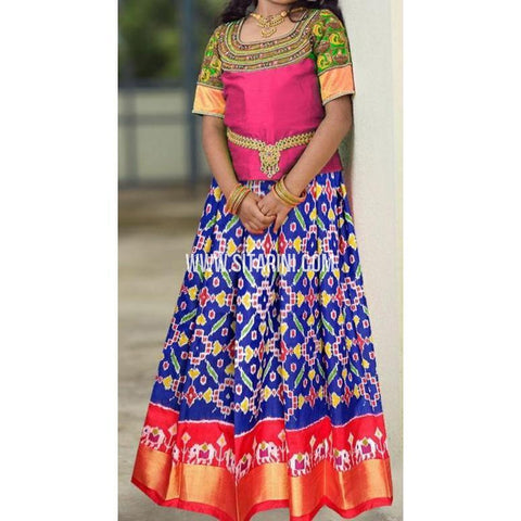 Ikkat lehenga-Pattu-Blue and Pink-Sitarini-SITEIL400