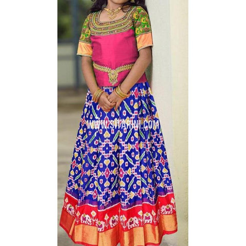 Ikkat lehenga-Pattu-Blue and Pink-Sitarini-SITEIL401
