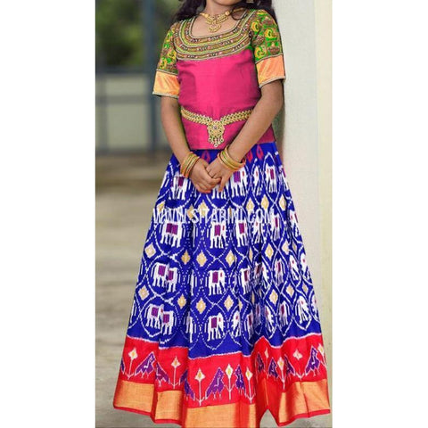Ikkat Lehenga-Pattu-Blue and Pink-Sitarini-SITMIL292