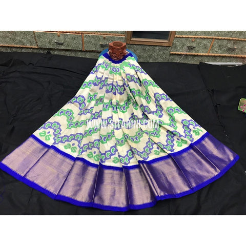 Ikkat lehenga-Pattu-Cream and Blue-Sitarini-SITEIL364