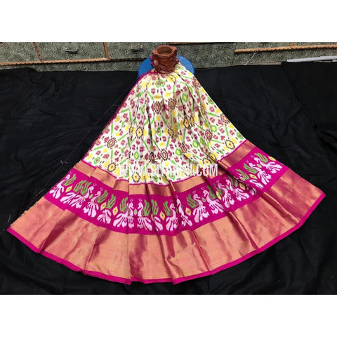 Ikkat lehenga-Pattu-Cream and Pink-Sitarini-SITEIL393