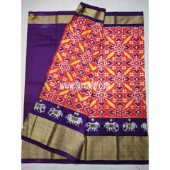 Ikkat Lehenga-Pattu-Dark Orange and Purple-Sitarini-SITEIL337