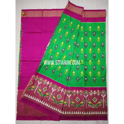 Ikkat Lehenga-Pattu-Green and Pink-Sitarini-SITEIL345