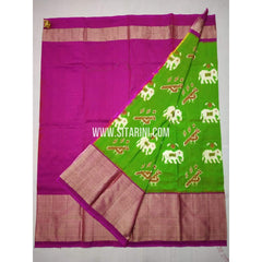Ikkat Lehenga-Pattu-Green and Pink-Sitarini-SITEIL352