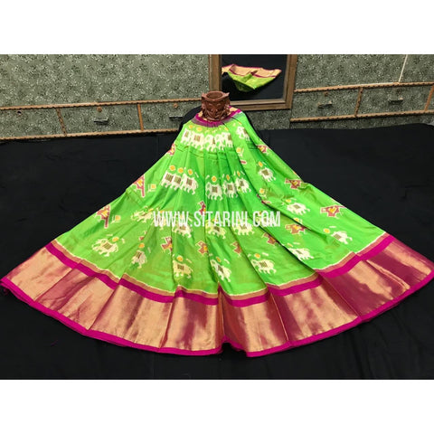 Ikkat lehenga-Pattu-Green and Pink-Sitarini-SITEIL397