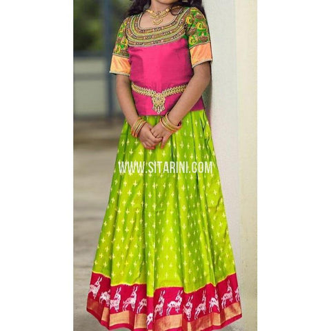 Ikkat Lehenga-Pattu-Green and Pink-Sitarini-SITMIL286