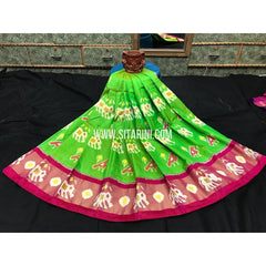 Ikkat Lehenga-Pattu-Green and Pink-Sitarini-SITMIL295