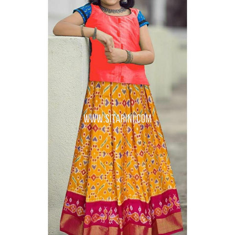 Ikkat lehenga-Pattu-Mustard Yellow and Pink-Sitarini-SITEIL405