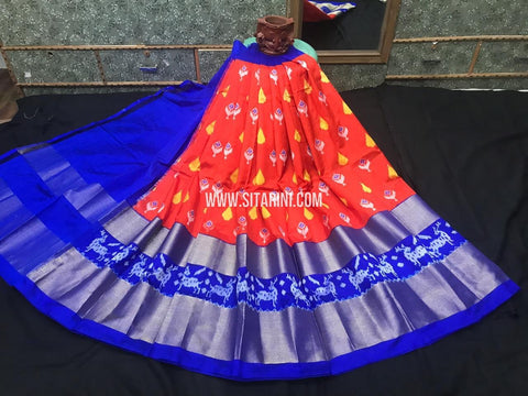 Ikkat Lehenga-Pattu-Orange and Blue-Sitarini-SITEIL1250