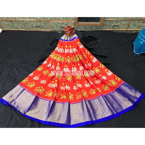 Ikkat lehenga-Pattu-Orange and Blue-Sitarini-SITEIL394