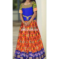 Ikkat lehenga-Pattu-Orange and Blue-Sitarini-SITEIL407