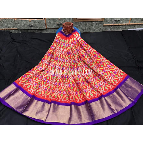 Ikkat lehenga-Pattu-Orange and Purple-Sitarini-SITEIL387