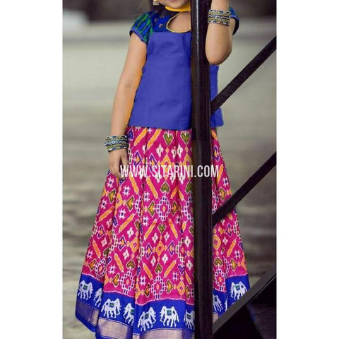 Ikkat lehenga-Pattu-Pink and Blue-Sitarini-SITEIL403