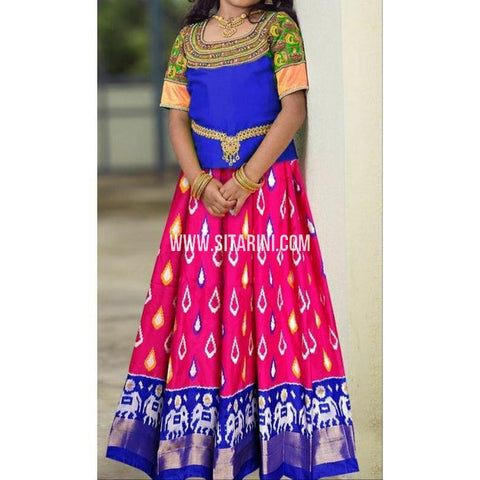 Ikkat lehenga-Pattu-Pink and Blue-Sitarini-SITEIL410