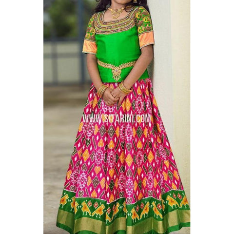 Ikkat Lehenga-Pattu-Pink and Green-Sitarini-SITMIL293
