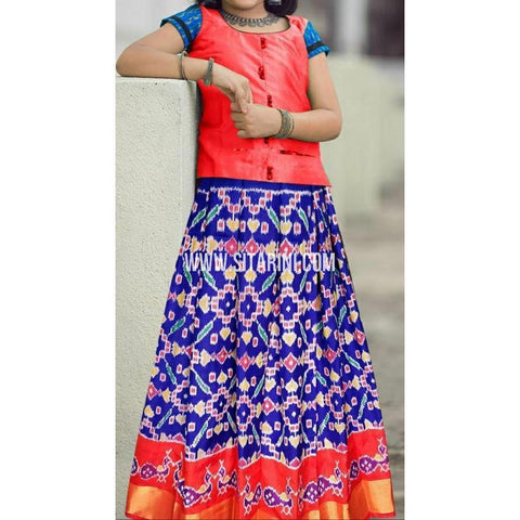 Ikkat lehenga-Pattu-Red and Blue-Sitarini-SITEIL406