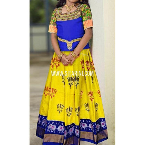 Ikkat lehenga-Pattu-Yellow and Blue-Sitarini-SITEIL402