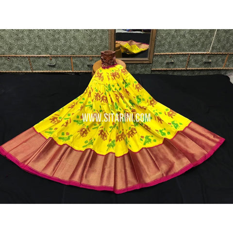 Ikkat lehenga-Pattu-Yellow and Pink-Sitarini-SITEIL398