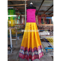 Ikkat Lehenga with Kanchi Border-Full Body Checks-PRHIKPL101