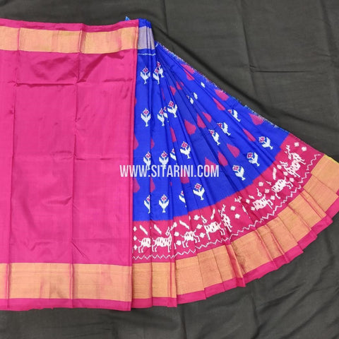 Ikkat Lehengas For Kids-Pattu-Blue-Sitarini-SITMIL331