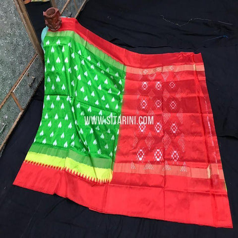 Ikkat Light Weight Saree-Pattu-Green-Sitarini-SITIPS978