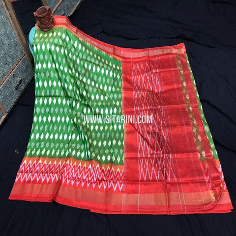 Ikkat Light Weight Saree-Pattu-Green-Sitarini-SITIPS980