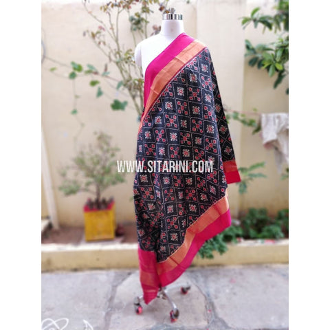 Ikkat Pattu Dupatta-Black and Magenta-Sitarini-PSHIPD272