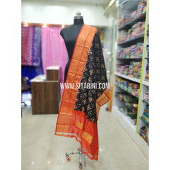 Ikkat Pattu Dupatta-Black and Orange-Sitarini-SITIPD239